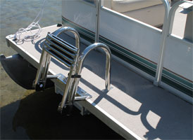 Front mounted telescoping pontoon ladder